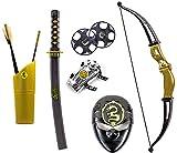 Katana KINDER NINJA Samurai Schwert Kostüm Säbel Dolch Messer XXL Set Maske Bogen Pfeile