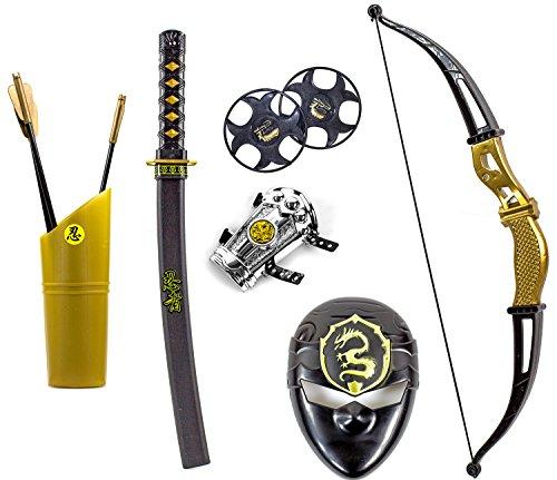 Katana KINDER NINJA Samurai Schwert Kostüm Säbel Dolch Messer XXL Set Maske Bogen (Kostüme Kinder Für Samurai)