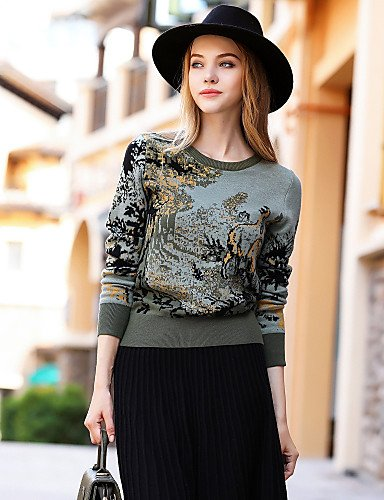 Xuanku BLUEOXY Women's Going out Casual/Daily Simple Regular Pullover,Print Round Neck Long Sleeves Wool Cotton Fall Winter Medium Stretchy