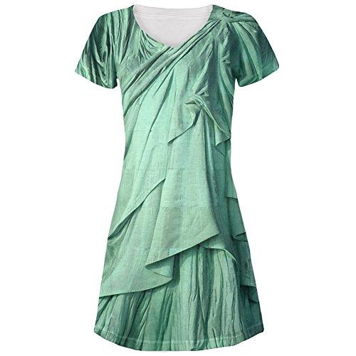 Freiheitsstatue Liberty Lady Kostüm Allover-Junioren Kleid mit V-Ausschnitt - groß