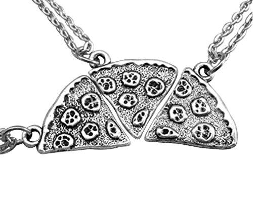 MJARTORIA Antik Silber Farbe Pizza Slice Halskette freundschaftsketten St¨¹ck 3