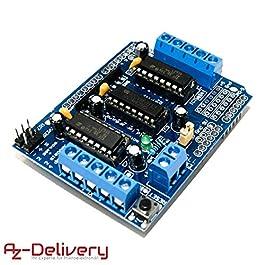AZDelivery L293D 4 canali Motor Driver Shield passo driver del motore per Arduino Mega 2560 e Uno R3, dieci Mila…