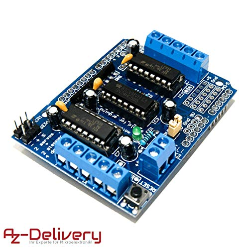 AZDelivery 4-Kanal L293D Motortreiber Shield Schrittmotortreiber für Arduino Mega 2560 und UNO R3, Diecimila, Duemilanove