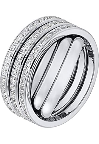 C-Collection by CHRIST Damen-Ring Edelstahl 123 Zirkonia 60, silber