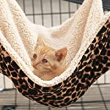 PET SPPTIES Hängematte Käfig Katzenhängematte Hängendes Bett für Katzen, Frettchen, Ratte, Kaninchen, Kleine Hunde oder Andere Haustiere PS037 (S:27 * 27cm, Leopard)