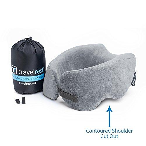 Travelrest Ultimate Memory Foam Reisekissen/Nackenkissen - Therapeutisch, ergonomisch - Waschbar Cover - am bequemsten Nackenkissen - komprimiert auf 1/4 Seiner Größe (2 Jahre Garan)