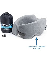 *NEW* Travelrest - Ultimate Memory Foam Travel Pillow / Neck Pillow, Ergonomic, Innovative, Best Travel Pillow for Airplane, Auto, Bus, Train, Office Napping, Camping, Wheelchair & Home