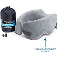 Travelrest Ultimate Memory Foam Travel Therapeutic, Ergonomic and Patented-Washable Cover-Most Comfortable Neck Pillow-Compresses to 1/4 of Its Size (2 Year Warranty)