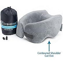 Oreiller en mousse à mémoire de forme Ultimate Travelrest - Oreiller ergonomique et breveté - Lavable - Compresse au quart de sa taille (garantie de 2 ans)