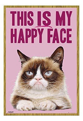 Preisvergleich Produktbild Grumpy Cat This is my happy face Poster Magnettafel Eichenholz-Rahmen,  96, 5 x 66 cm (ca. 96, 5 x 66 cm)