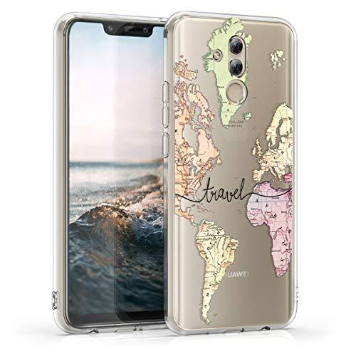 kwmobile Huawei Mate 20 Lite Hülle - Handyhülle für Huawei Mate 20 Lite - Handy Case in Travel Schriftzug Design Schwarz Mehrfarbig Transparent