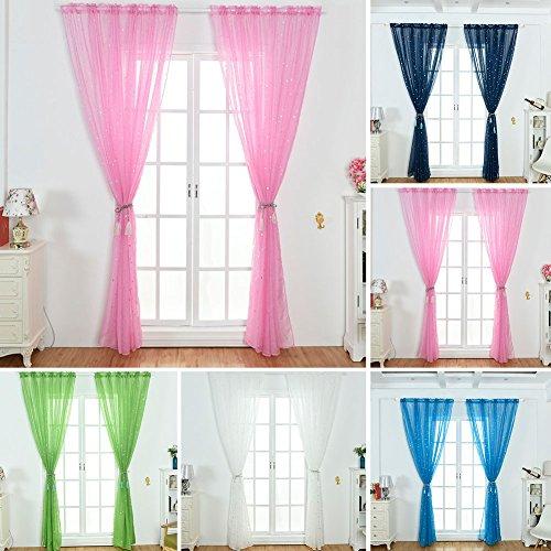 Zhouba arredamento moderno tende in voile tenda soggiorno moderno lucido stella trasparente tulle drape decor–rosa 100cm x 270cm pink 100cm x 270cm