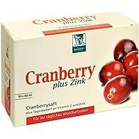 BADERs Cranberry plus Zink aus der Apotheke. Cranberrysaft plus Tagesbedarf an Vitamin C und Zink. Frei von synthetischen Farbstoffen, Laktose- und Gluten. Vegan. 10 x 60 ml Shots.