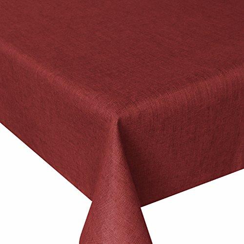 Tischdecke Gartentischdecke Tischtuch Leinendecke Abwaschbar Leinen Optik Wasserabweisend Eckig 130 x 220 cm Dunkelrot Tafeldecke Fleckschutz Pflegeleicht mit Saumrand Leinentuch
