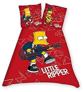 Parure housse de couette linge de lit 1 personne enfant garcon ou fille bart simpson - Guitare simpson ...