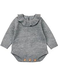Ropa bebé, Recién nacido bebé niño niña mameluco de punto mono trajes ropa conjuntos Amlaiworld (Gris, Tamaño:0-6Mes)