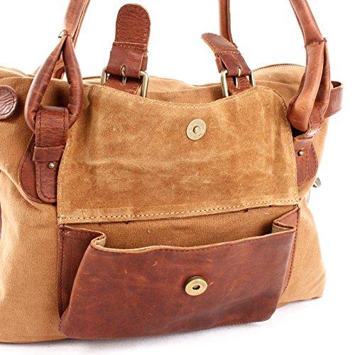 Henkeltasche Canvas + Echtleder Damentasche Handtasche Vintage Damen Schultertasche 38x29x11cm braun grün LE0050-C Leconi JGmTyRX