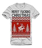 Outfitfabrik &Hearts Hearts; T-Shirt Merry Fucking Christmas in grau L