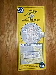 carte routière Michelin n°59 ST-BRIEUC - RENNES