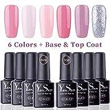 Vernis Gel Semi Permanent - Y&S UV LED Vernis à Ongles Gel Soak Off Débutant 8ml Kit 6 Couleurs Plus Top et Base Coat, Lot Rose Nude