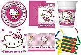 Hello Kitty Hearts 46-teiliges Kindergeburtstag Party Deko Set Standard Motto Fete Feier 8 Teller, 8 Becher, 20 Servietten, Tischdecke, 6 Einladungskarten, 3 Rollen Luftschlangen