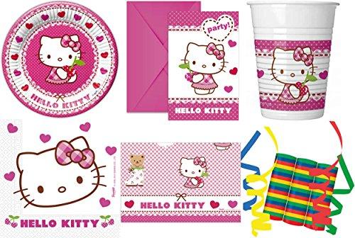 Hello Kitty Hearts 46-teiliges Kindergeburtstag Party Deko Set Standard Motto Fete Feier 8 Teller, 8 Becher, 20 Servietten, Tischdecke, 6 Einladungskarten, 3 Rollen Luftschlangen (Kitty Hello Deko Party)