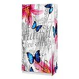 Kleiderschrank Blüten Schmetterlinge Holz-Optik 2 türig Lilie grau blau pink Jugendzimmer Komplett bedruckt , modern Aufbewahrung weiss hochglanz mit Kleiderstange, 80cm breit, 180cm hoch, 50cm tief