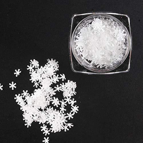 1 Box ultradünne Nail Art Dekoration Schneeflocke 3D weiße Scheiben Pailletten Stück 15g Maniküre Zubehör - Weiß
