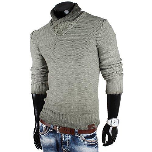 Tazzio pull-over pour homme en tricot pull sweat veste en tricot nouveau étiquette taille s à xXL Vert - Kaki