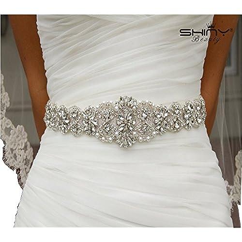 Shinybeauty Rhinestone Applique Belt Wedding Sash Ivory And Bridal For Dress AccessoriesBridal Head PieceGown BeltWedding Garters