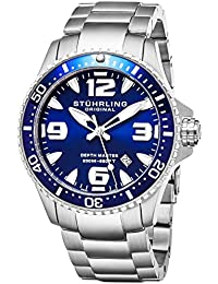 Stuhrling Original Ltd Edition Deep Blue Dial Mens Pro Dive Watch Swiss Quartz 200 Meter Water Resistant Unidirectional Ratcheting Bezel Solid Stainless Steel Bracelet Screw Down Crown Sport Watch