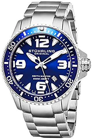 Stuhrling Original Blue Dial Professional Divers Watches for Men Collection Swiss Quartz 200 Meter Water Resistant Solid Stainless Steel Bracelet Screw Down Crown Designers Sport Dress