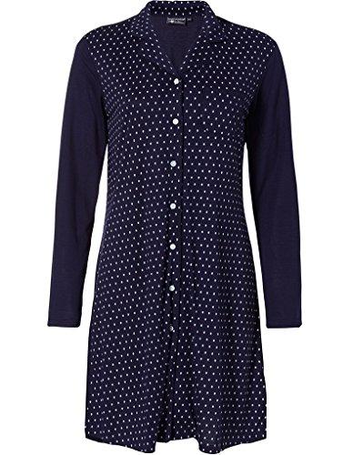 Pastunette 1072-302-6-445 Women's Luxe Indigo Navy Polka Dot Night Gown Loungewear Nightdress 46 (Dot Polka Nightshirt)