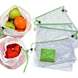 RYBit Reusable Mesh 9 Bag Set + 1 Bonus Foldable Shopping Grocery Tote, Eco Friendly Solution To Plastic Bags, Great Storage Of Produce Fruit / Vegetable, Toys, Crafts, Washable, BPA-Free, In 3 Sizes