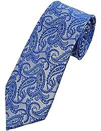 Collar and Cuffs London - High Quality Handmade Tie - 100% Pure Silk - Luxury Fashion Navy Blue Paisley Pattern