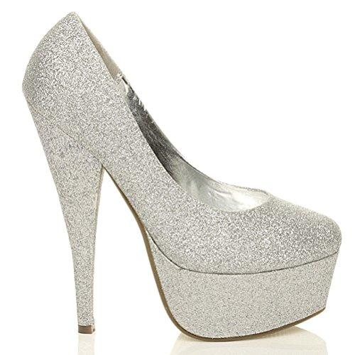 Damen Klassisch Stöckelschuhe Plateausohle Pumps Party Arbeit Schuhe Größe Silber Glanz