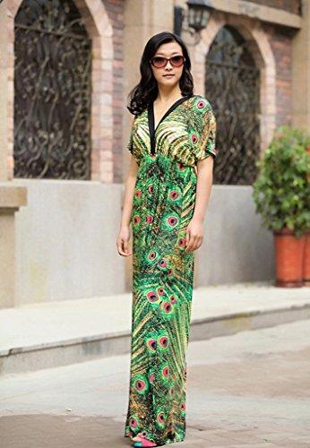Smile YKK Femme Robe Longue Manches Courtes Colonne V Col Imprimée Floral Casual Beach Vert