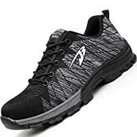 H-Mastery Steel Toe Cap Trainers Mens Womens Safety Shoes Work Lightweight Midsole Protection(Black Grey,Size 7.5 UK)