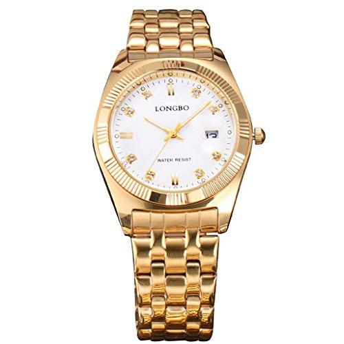 Longbo Luxus Full Gold Edelstahl Trageriemen Business Uhren Datejust setzt Herren Kleid Armbanduhr Slim Legierung Zifferblatt Auto Datum wasserdichte Herren Quarz Armbanduhr