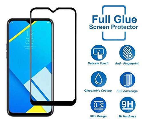 Remembrand 9H+ High Definition Edge to Edge Tempered Glass for Realme C2 (Pack of 1, Black, Full Glue)