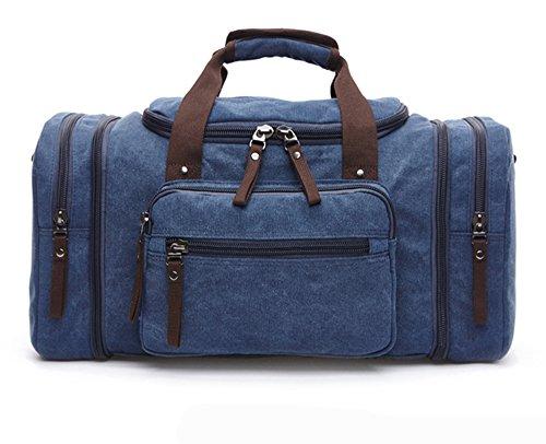 WOMJIA klassisch Reisetsache Sporttasche Weekender Tasche Handgepäck aus Canvas Segeltuch Vintage 35 Liter Blau