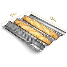 Naisi Molde de horno para pan, pan, baguettes y ollas perforadas, 4 unidades