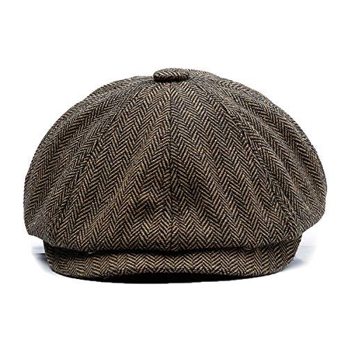 KeepSa Herren Newsboy Flat Cap Gatsby Barett Cap, Scheuklappe spritzige 8 teilig 'Newsboy'Stil Golfermütze,Schlägermütze