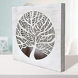 -Mandala de Pared Calada, Fabricada artesanalmente en España- Mandala 3D Cuadrada Pintada a Mano- Modelo Mosaico 214 (Blanco Envejecido, 50X50)