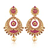 #6: I Jewels Gold Plated Chandbali Earrings for Women E2326Q (Pink)