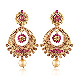 I Jewels Gold Plated Chandbali Earrings for Women E2326Q (Pink)