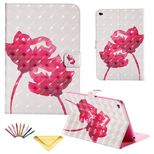 Uliking Schutzhülle für Apple iPad Mini 4 (7,9 Zoll), magnetisch, Kunstleder, Standfunktion, TPU, stoßfest, mit Kartenfächern, automatischer Aufwach- / Schlafmodus rot 02# Red Rose Flower