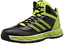 adidas Mens Tyrant Black and Solar Yellow leather Basketball Shoes - 8 UK