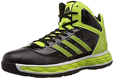 adidas Men's Tyrant Black and Solar Yellow leather Basketball Shoes - 10 UK
