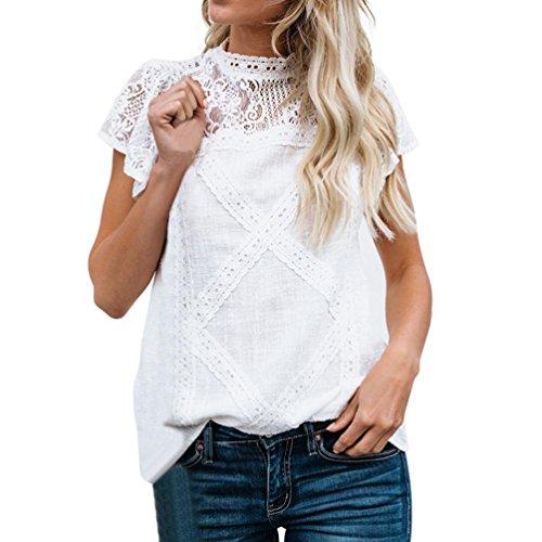SEWORLD Damen Sommer Mode Frauen Lose O-Ausschnitt Spitze Patchwork Aufflackern Rüschen Kurzarm Niedlich Blumen Shirt Bluse Top(Weiß,XL) (Rüschen-shirt)
